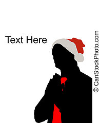 praying man with christmas hat