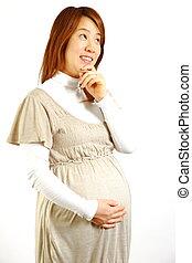 pregnant woman thinks