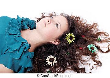 portrait of pretty brunette girl posing