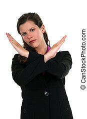 portrait of pretty businesswoman making stop gesture with hands