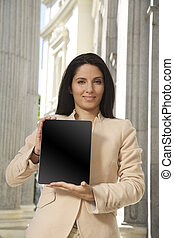 businesswoman showing screen tablet