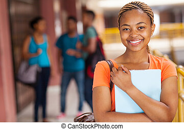pretty female african college student - portrait of pretty...