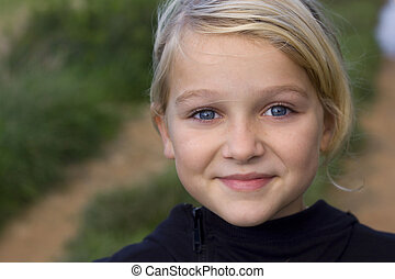 Portrait of pretty girl - Close up photo of 9 year old child