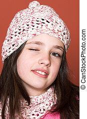 pretty girl winking - portrait of pretty girl winking
