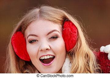 7c5fe2aac3b Portrait of happy lifeguard woman in red cap. Portrait of happy ...
