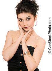 Portrait of pretty woman in a black dress