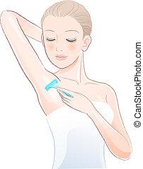 Portrait of pretty woman shaving underarm with razor. File ...