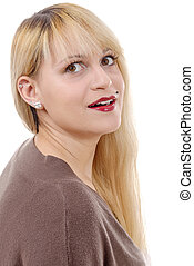 portrait of pretty woman with long straight blond hair.