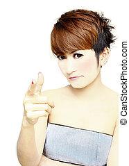 Pretty women short hair pointing her finger