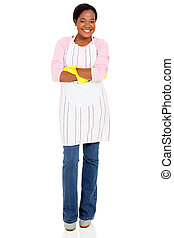 young african woman wearing apron
