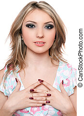 Portrait of pretty young blonde. Isolated