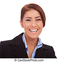 Portrait of pretty young business woman laughing on white background