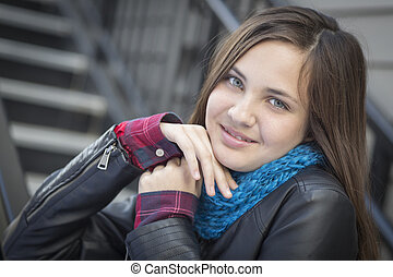 Portrait of Pretty Young Girl Weather Leather Jacket