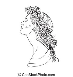 Portrait of pretty young woman in profile view. Vector illustration