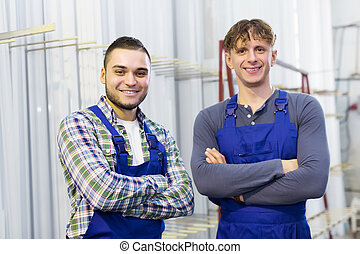 Portrait of production workers