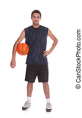 Portrait of professional basketball player. Isolated on...