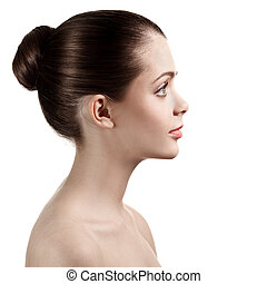 Portrait of profile charming woman with bared shoulders, on white background.