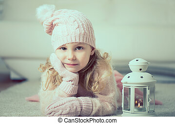 Portrait of ptetty little girl with flashlight - Portrait of...