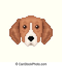 Portrait of puppy Great Anglo-French Tricolour Hound. Pixel...