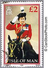 ISLE OF MAN - CIRCA 1990: A stamp printed in Isle of Man shows a portrait of Queen Elizabeth II, circa 1990