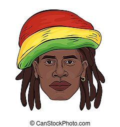 Portrait of rastaman. The black man's face in a Rastaman hat. Vector illustration, isolated on white.