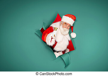 Santa Claus with golden bell