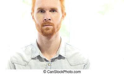 Portrait of Red Hair Beard Man