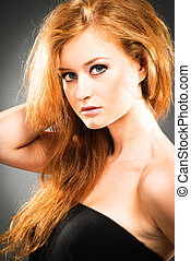 Portrait of red-haired woman - Portrait of a young red-...