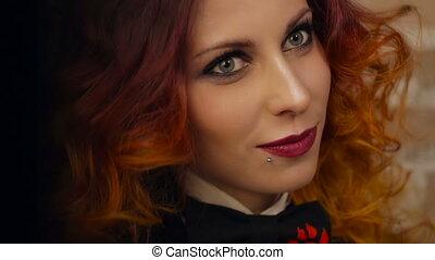 Portrait of Redhead woman - portrait of Beautiful curly...