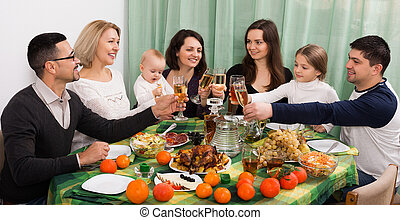 family event at table - Portrait of relatives celebrating ...
