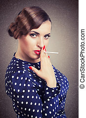 portrait of retro woman with cigarette