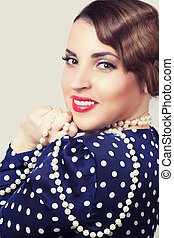 portrait of retro woman with pearls