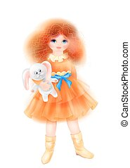 Portrait of romantic girl in vintage dress with bunny. Toy for children. Fashion girl's clothing.. Watercolor style.