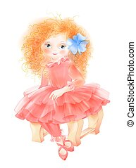 Portrait of romantic girl in vintage red dress. Fashion girl's clothing. Girl dressed as princess. Watercolor style.