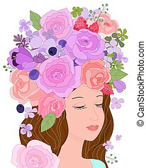 portrait of romantic girl with lilac roses, summer forest berrie