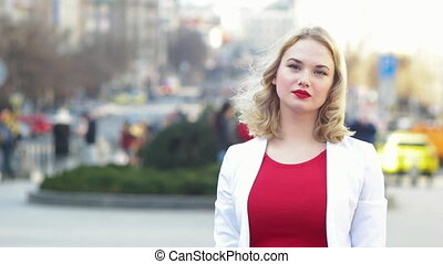 Portrait of Russian Woman - Russian woman in the red dress...
