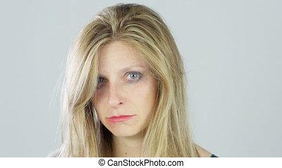 portrait of sad abused woman