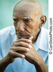 Portrait of sad bald senior man - Seniors portrait of...