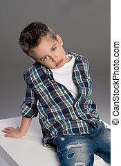 Portrait of sad boy