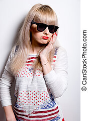 Portrait of sad girl in sunglasses