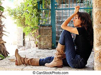 portrait of sad young girl