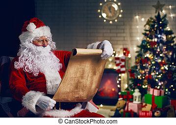 Santa Claus - Portrait of Santa Claus sitting at his room at...