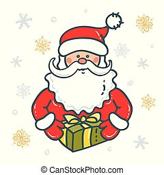 Portrait of Santa Claus with gift the background of snowflakes. Elements for Christmas design