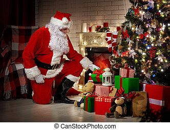 Santa Claus - Portrait of Santa Claus with gifts