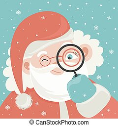 Portrait of Santa Claus with magnifying glass