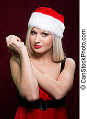 Portrait of Santa girl looking at the camera