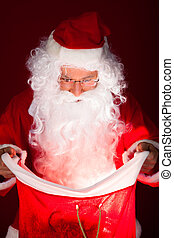 Portrait of santa looking in sack - Portrait of happy santa...