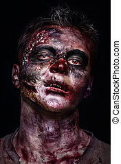portrait of scary zombie - portrait of scary bad zombie at...