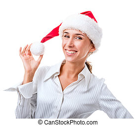 Portrait of secretary in the hat of Santa Claus