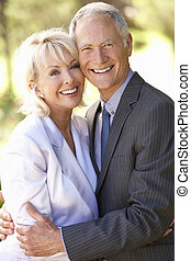 Portrait Of Senior Bridal Couple Outdoors